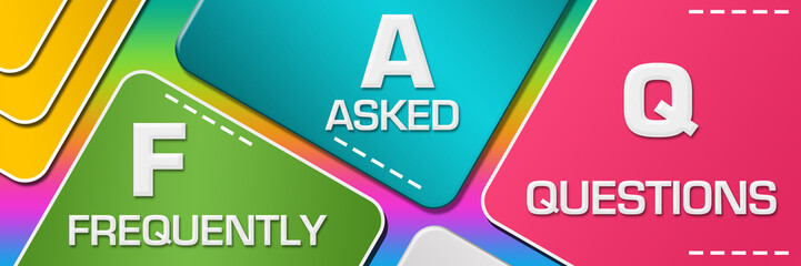 FAQ - Frequently Asked Questions Colorful Rounded Squares Blocks Horizontal