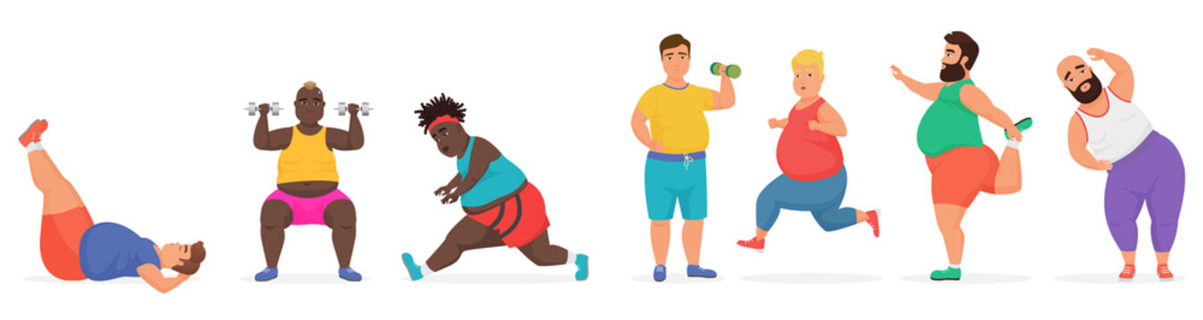 Funny cute chubby fat man characters set doing gym workout exercises. Sport fitness big people vector illustration