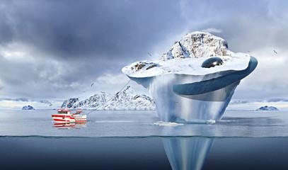Poster UFO iceberg with a crashed UFO inside