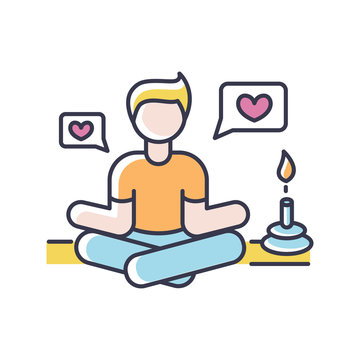 Lifestyle guru RGB color icon. Person in meditation pose getting likes. Harmony and stress relief. Life coach. Zen and yoga position. Positive attitude. Isolated vector illustration