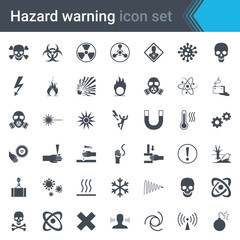 Hazard warning signs. Set of signs warning about danger. 42 high quality hazard symbols and elements. Danger icons. Vector illustration.