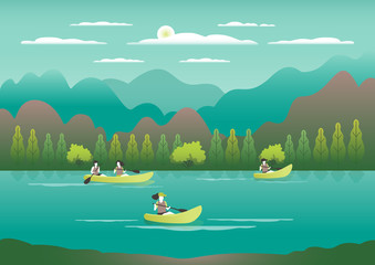 Rowing, sailing in boats as a sport or form of recreation vector flat illustration. Boating fun for all the family outdoors. Travel, go in a boat for pleasure. Landscape with lake, people go boating Wall mural
