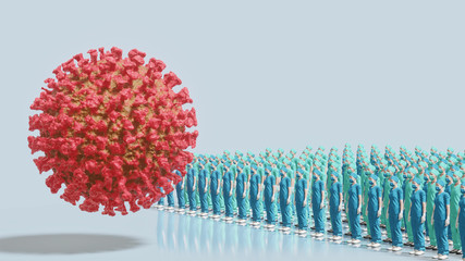 Medical staff in war with virus, coronavirus pandemic concept, side view, 3D rendering