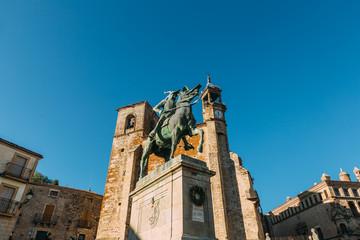 Equestrian statue of Francisco Pizarro and San Martin Parish, Trujillo, Spain