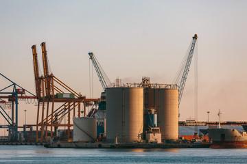 Industrial tanks in Malaga harbor, Spain