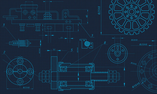 Engineering Drawing Background. Vector Illustration.