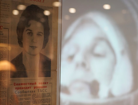 An old newspaper is on display in a museum of Soviet cosmonaut and first woman in space Valentina Tereshkova in Tutayev