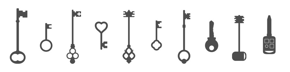 A set of vintage and modern keys. Silhouette vector illustration.