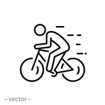 biker icon, ride bicycle, concept travel and tourism, mountain cyclist, thin line web symbol on white background - editable stroke vector illustration eps10