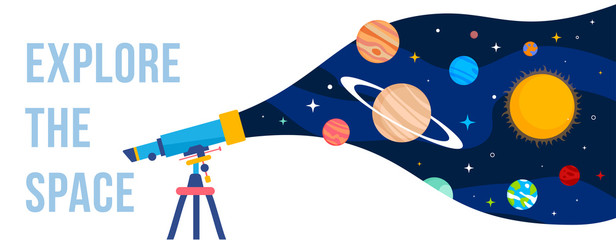 Vector creative template with illustration of telescope and planet of solar system on color background.