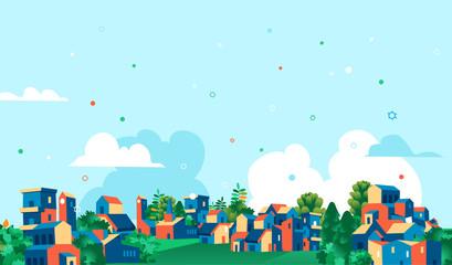 Garden Poster Light blue Panoramica città, villaggio con case e alberi verdi, sfondo cielo blu con nuvole.