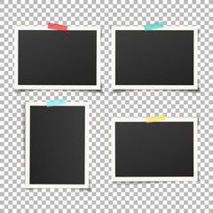 Wall Mural - Set of vintage photo frame with adhesive tape. Vintage style.  Vector illustration with adhesive tapes. Photo realistic Vector EPS10 Mockups. Retro Photo Frame Template for your photos.