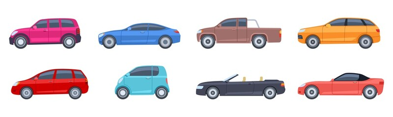 Flat cars. View side automobiles model. Contemporary suv and hatchback, pickup and sedan. Isolated vector icons. Automobile side car, transportation comfortable cabriolet or coupe model illustration
