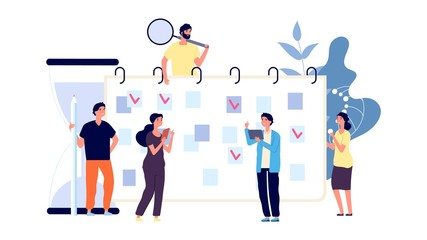 Businesspeople planning work day. Office workers and time management. To do list, men and women discuss about plan vector concept. Day plan businesspeople, business work week illustration
