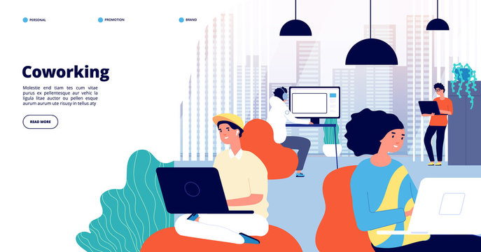 Coworking landing page. Office people, freelance professionals discuss. Perfect working space or creative startup. Modern job vector banner. Illustration coworking freelance workplace, business space