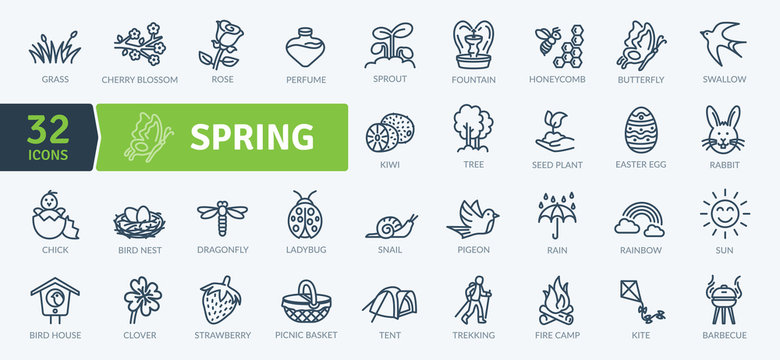 Spring Equipment Icons Pack. Thin line icons set. Flaticon collection set. Simple vector icons