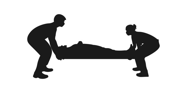 Medical team staff carrying wounded patient to hospital. Coronavirus evacuation concept. First aid paramedic icon sign or symbol. Paramedics rescuing man. Heart attack. Vector silhouette illustration.