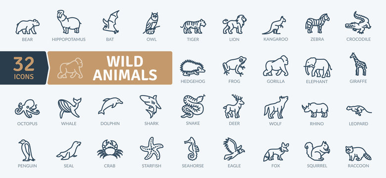 Wild Animals Icons Pack. Thin line creature icons set. Flaticon collection set. Simple vector icons