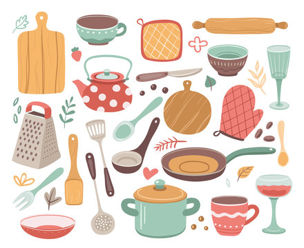 Kitchen tools. Kitchenware, cooking baking utensils. Doodle ceramic kettle, spatula and glass. Isolated modern household elements vector set. Cooking tool household, utensil kitchenware illustration