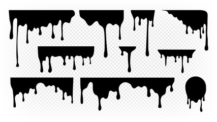 Poster Graffiti Dripping ink. Melting paint, liquid drops black oil. Isolated splashes, graffiti elements. Spray stream or flow trickle vector set. Dripping melting, spatter graffiti illustration