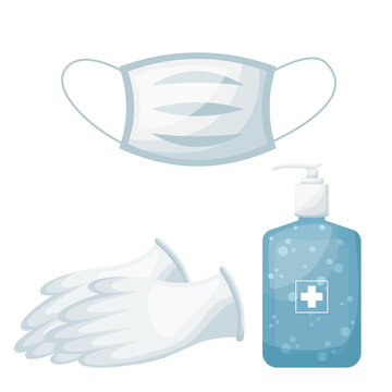 Personal hygiene set, facial mask with medical gloves and hand sanitizer. vector illustration