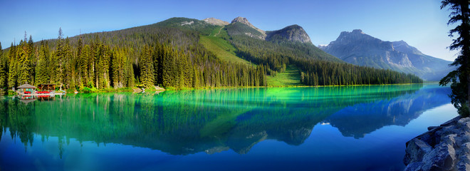 Beautiful Emerald lake in the mountains scenic panorama morning view, Canada