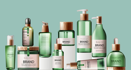 Set of various health care and spa green bottles. Body oil, lotion, serum, shower gel and perfume