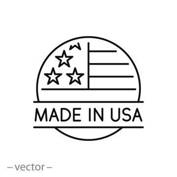 made in usa icon, quality american stamp, label flag manufactured america, thin line web symbol on white background - editable stroke vector illustration eps10