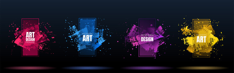 Vector frame for text. Modern Art graphics. Grungy brush strokes dynamic 3d frame stylish geometric black background. Element for design banner, posters, invitations, gift cards, flyers and brochures