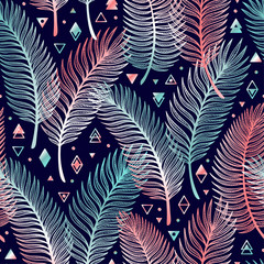 Foto auf AluDibond Boho-Stil Tropical Palm Tree Leaves with Geometric Shapes Vector Seamless Pattern. Palm Leaf Sketch with triangles, rhombuses and circles. Summer Floral Background. Tropical Plants Wallpaper