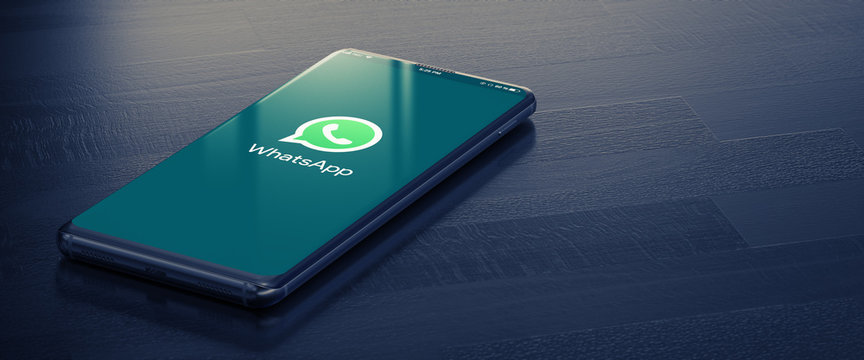 Whatsapp on Smart Phone Screen. Whatsapp - Most Popular Social Media Tool for Communication Between People in Internet. 3D Rendering. KYIV, UKRAINE-JANUARY, 2020