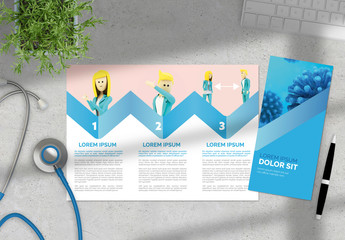 Pink and Blue Trifold Brochure Layout with COVID-19 Information and Illustrations