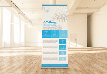 Blue and White Roll-Up Banner with COVID-19 Information