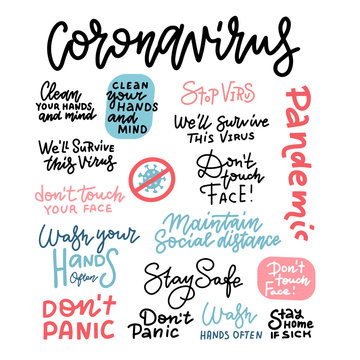 CoronaVirus hand drawn vector illustration set. China Wuhan pneumonia. Coronavirus covid-19 linear lettering. Epidemic disease banner. Wash Hands. Don't touch face. Stay safe. don't panic. Stay home