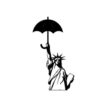 Statue of liberty holds an umbrella icon isolated on white background