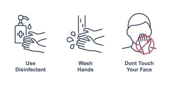Coronavirus precaution tips linear icons on white background. Use disinfectant, wash your hands and dont touch your face. Editable stroke