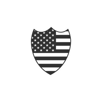 American flag and stars national shield emblem. Stock Vector illustration isolated on white background.