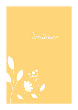 Minimalistic yellow invitation. Сard with floral white pattern.