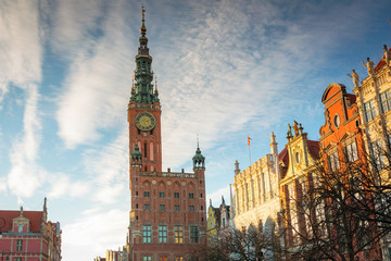 Historic town hall of Gdansk city at sunset, Poland