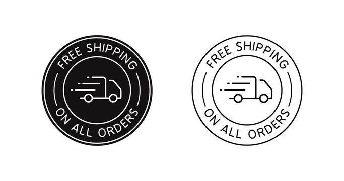 Free Shipping On All Orders vector icon sign for online store.