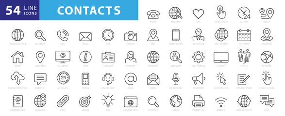 Set of 54 Contact Us web icons in line style. Web and mobile icon. Chat, support, message, phone. Vector illustration