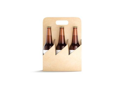 Blank craft cardboard holder for glass beer bottle mock up,
