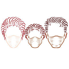 family with dark skin, in medical masks