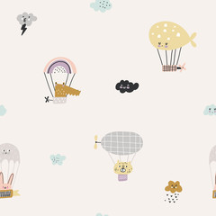 Childish seamless pattern with cute animals, balloons and clouds for baby apparel, cloth texture, textile or decoration. Pastel colors.