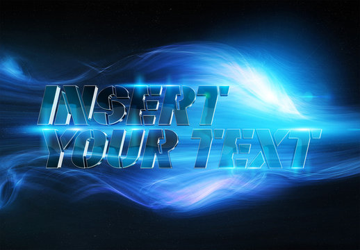 Metallic Blue 3D Text Effect with Blue Smoke Elements