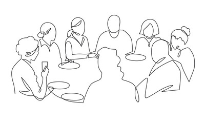 Birthday party continuous one line vector drawing. B-day celebration. Hand drawn family dinner, holiday, festival. Woman and guests sitting at table. Thanksgiving Day illustration. Funeral banquet