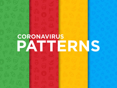 Coronavirus seamless pattern with thin line icons. Symptoms and prevention: 2019-ncov, surgical mask, person-to person, hand washing, pneumonia, bronchitis, ambulance, vaccine. Vector illustration.