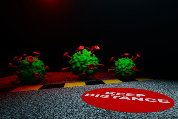 Viral bodies approach sign informs public to keep distance, 3D render.