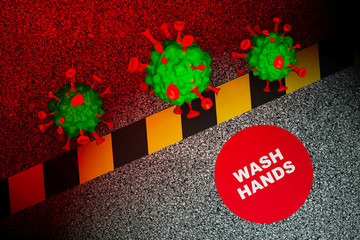 Viral bodies approach sign informs public to wash hands, 3D render.