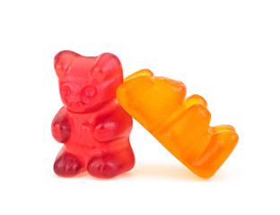 Two jelly bear candies isolated on a white background. Vitamins. Childhood.